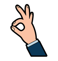 Human hand showing ok fingers symbol vector