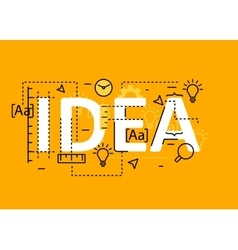 Idea concept flat line design with icons and vector image
