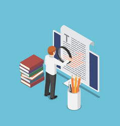 isometric businessman proofreading a document vector image