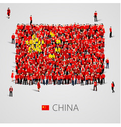 large group of people in the china flag shape vector image