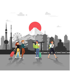 lets travel in japan for seeing landmarks design vector image