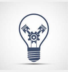 Light bulb icon with gear and engine pistons vector