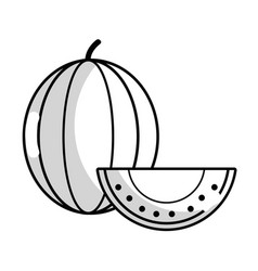 Line delicious slice watermelon fruit with vector