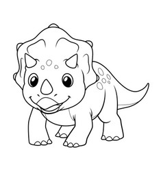 little triceratops cartoon bw vector image