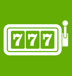 Lucky seven on slot machine icon green vector