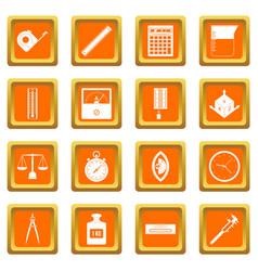 measure precision icons set orange vector image