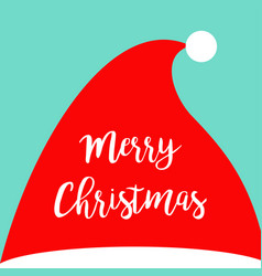 merry christmas santa claus red hat costume vector image