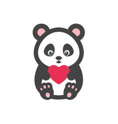 panda bear with heart vector image