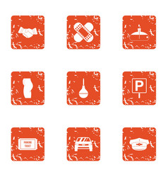 Parking penalty icons set grunge style vector