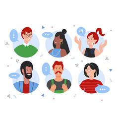 People speaking flat set vector