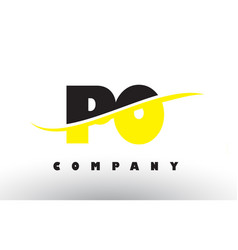 Po p o black and yellow letter logo with swoosh vector