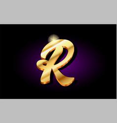 R alphabet letter golden 3d logo icon design vector