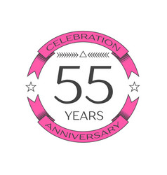 Realistic fifty five years anniversary celebration vector