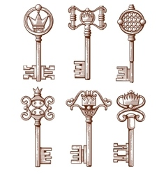 Retro old keys in hand drawn vector image
