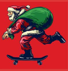 santa claus riding skateboard while bringing a vector image
