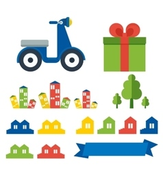 Scooter delivery elements vector