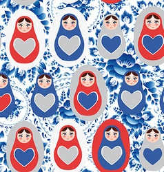 Seamless pattern blue red gray Russian dolls on a vector image