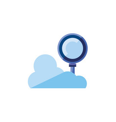 search magnifying glass with cloud computing vector image