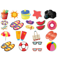 Set beach objects vector