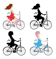 Set of pregnant women riding a bike vector