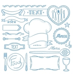 Set of ribbons frames for restaurant menu vector