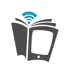 Simple ebook logo design electronic library icon vector