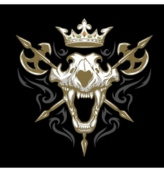 skull a lion crown and weapons vector image