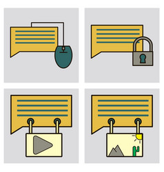 social media icons in speech bubbles with group vector image