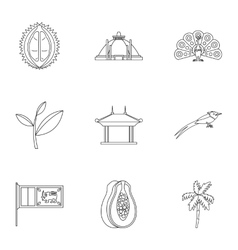 Sri Lanka icons set outline style vector
