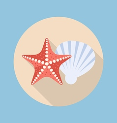 Starfish and shell flat icon vector