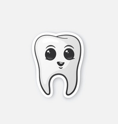 Sticker happy tooth with eyes vector