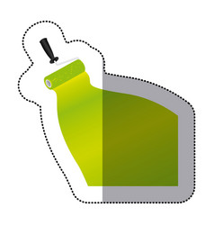sticker paint roller with stroke of paint green vector image
