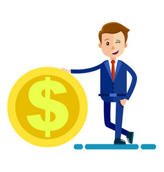 successful man in biz suit keeps hand on big coin vector image