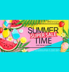 super sale banner with gourmet food vector image