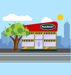 supermarket building city landscape concept vector image