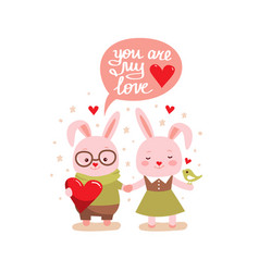 two cute bunny rabbits vector image