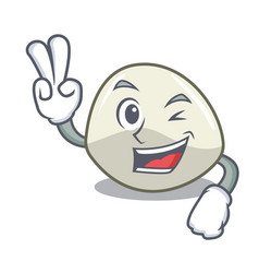 Two finger character cartoon fresh mozzarella vector