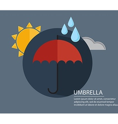 umbrella with season weather sign with long shadow vector image