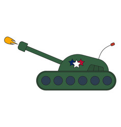 War battle tank shooting projectile side view vector