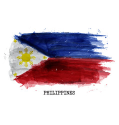 watercolor painting flag of philippines vector image
