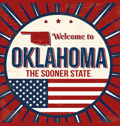 welcome to oklahoma vintage grunge poster vector image