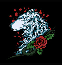 Wolf rose vector