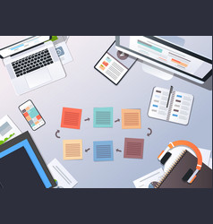 Working business cyclic arrows process top angle vector