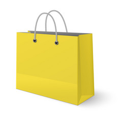 yellow paper classic shopping bag isolated on vector image