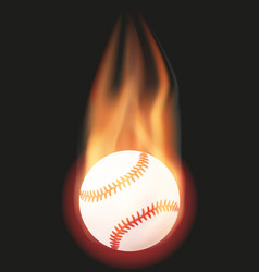 Baseball ball with flame vector image