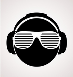 men dj in headphone print vector image