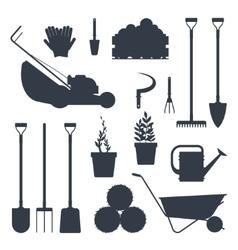 Set farm tools flat black silhouette- vector image vector image