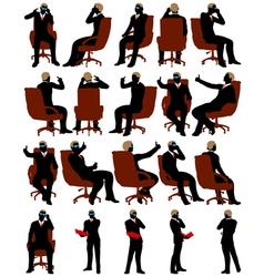 Business men silhouette set vector image