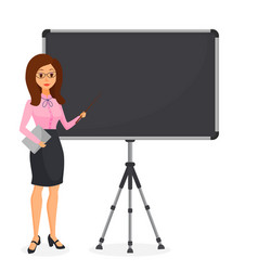 cute young business woman pointing at empty flip vector image