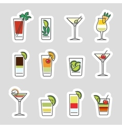 Drinks stickers set vector image